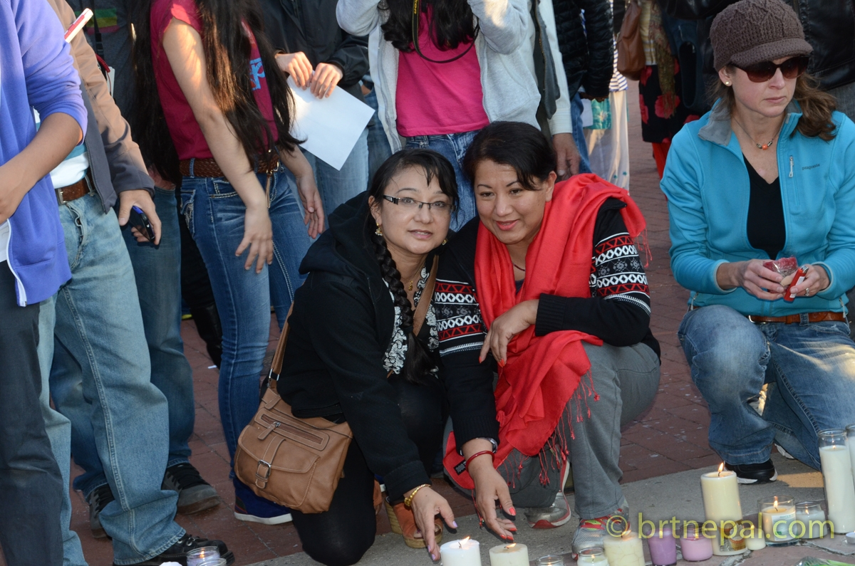 Candle light vigil of the victims of the earthquake in Nepal